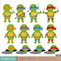 Ninja Turtles Digital Clipart by LittleMoss on Etsy