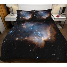 Black galaxy bedding set galaxy duvet cover with sheets and... ($52) ❤ liked on Polyvore featuring home, bed & bath, bedding, outer space bedding, galaxy bedding, black bedding sets, black pillow cases and outerspace bedding