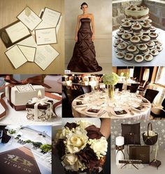 brown and white wedding