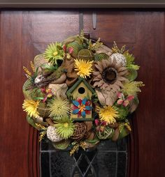 Birdhouse Spring/Summer Burlap and Mesh Wreath by HertasWreaths on Etsy