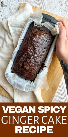 Vegan Ginger Cake: a delicious egg-free and dairy-free healthy ginger cake recip. - Vegan Ginger Cake: a delicious egg-free and dairy-free healthy ginger cake recipe perfect for a pla - Vegan Dessert Recipes, Baking Recipes, Cake Recipes, Vegan Treats, Vegan Foods, Cake Vegan, Vegan Ginger Cake Recipe, Ginger Loaf Cake, Sticky Ginger Cake