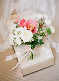 pink and white bouquet tied with ribbon | Bridal Musings Wedding Blog