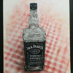 """""""Jack Daniel's  Charcoal and pencil sketching. Soft pastel background. #jackdaniels #charcoal #charcoalpencil #sketching #paintingoftheday #softpastel…""""  Painting by Fayfay January 2015."""