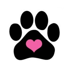 Dog Nail Decals Set of 20 - Heart in Black Paw Print