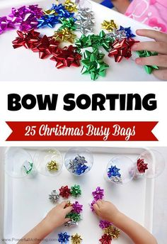 Use simple Christmas bows in this busy bag to sort by color, size and counting. Part of the 25 Christmas Busy bags series.