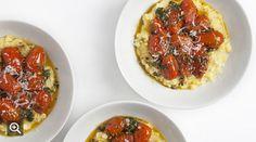 Fresh Corn Polenta with Sautéed Cherry Tomatoes Peter Berley's corn-and-tomato dish showcases the best of summer. Frittata, Cheddar, Feta, Cherry Tomato Recipes, Tomato Dishes, Polenta Recipes, Polenta Cakes, Corn Recipes, Vegetarian