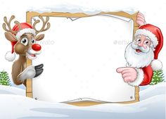 A Christmas background with Santa Claus and his reindeer cartoon characters peer. A Christmas background with Santa Claus and his reindeer cartoon characters peering around a sign with copy space Merry Christmas Photo Frame, Christmas Frames, Christmas Mood, Christmas Design, Christmas Photos, Vintage Christmas, Christmas Ornaments, Santa Christmas, Free Christmas Backgrounds