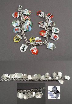 Bettelarmband mit Stadtwappen German bracelet with town shields in silver.