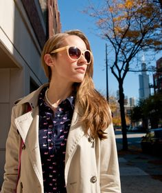 Fall Remix: Target Printed Blouse, Pearls, Trench, and Nude Sunnies