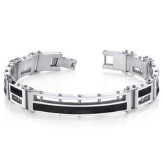 Mens Black Enamel Stylish High Polish Stainless Steel Bracelet. BUY NOW AND SAVE! Use Promo Code Pin9175 AND SAVE 15% ON YOUR ENTIRE ORDER!
