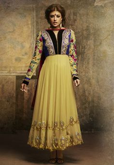 Explore Fashionably With this Yellow #Georgette kameez designed with Lace,Multi Resham Stone Work. Available with #Shantoon Bottom with matching #Chiffon Dupatta.  INR:-8420 -With Exciting 25% Discount !