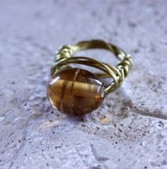 Wire Wrapped Caramel Lampwork Ring Gold 20 Gauge by BellaGioielli1, $14.00