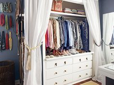 DIY Budget Couple's Closet Solutions ! Shirts Hang Above a Pair of Dressers in what was the Sole Closet And Now is an Expanded Alcove in a master bedroom ! Full photo Tutorials