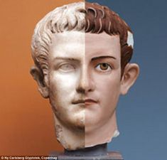 Estátuas gregas antigas eram originalmente pintadas com cores berrantes, mas após milhares de anos esta tinta saiu. Calígula é um exemplo.