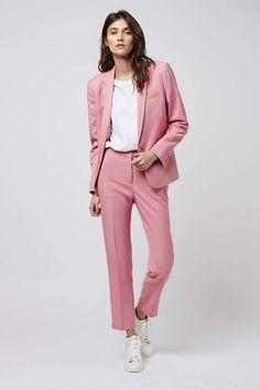 Cameo Brown Womens Business Work Suits Formal Evening Pant Suits Female Office Uniform One Button Ladies Trouser Suits Pantalon Rose Pale, Office Outfits, Casual Outfits, Office Uniform, Pink Suits Women, Look Fashion, Fashion Outfits, Fashion Trends, Ladies Trouser Suits