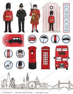 ACTIVITE - Clipart sur Londres à imprimer pour illustrer un carnet de voyage, un lapbook...