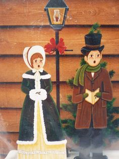 Fun tole painting pattern titled Large Christmas Carolers by Tole Strokes (Carolyn Coffey), copyright 1986. Pattern for a painted Christmas display