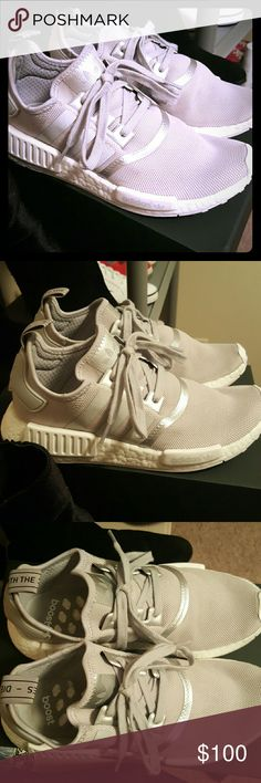 Adidas NMD R1 Silver Wore only 3 or 4 times. Still looking very new and nice!! This size was just a bit too big for me. It is a size 8 in women's. Adidas Shoes Sneakers