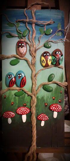 Stone Crafts, Rock Crafts, Diy And Crafts, Arts And Crafts, Pebble Painting, Pebble Art, Stone Painting, Art N Craft, Diy Art