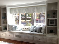 Built In Window Seat Shelves Amp Drawers Make Skinnier For Kitchen Window Shelves, Window Seat Kitchen, Shelves In Bedroom, Bookshelves Built In, Built Ins, Window Benches, Window Seats, Farmhouse Bookcases, Kitchen Wall Colors
