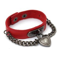 Heart Lock Pendant Gothic Punk Leather Bracelet ($4.93) ❤ liked on Polyvore featuring jewelry, bracelets, red, red jewelry, leather pendant, heart shaped jewelry, heart bangle and lock pendant