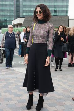 Awesome printed top. #YasminSewell in London.