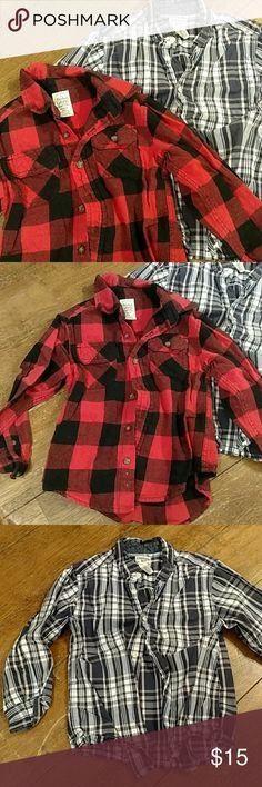 Boys long sleeve button up shirts Red and black buffalo plaid size xs 4/5 faded glory. Navy, white and orange size 5 Oshkosh. Shirts & Tops Button Down Shirts