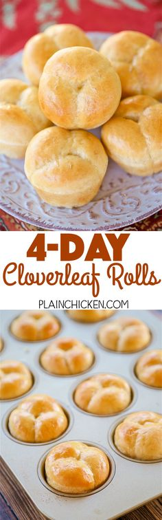 4-Day Cloverleaf Rolls - dough can be made up to 4 days in advance. GREAT timesaver for holiday meal planning!! Yeast, water, sugar, shortening, egg, salt flour and butter. SO delicious! Makes 2 dozen rolls, perfect for the big holiday meal and leftovers!