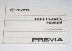 2001 toyota tundra owners manual book owners manuals pinterest rh pinterest com 1992 toyota previa repair manual 1992 toyota previa owners manual