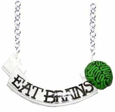 Eat Brains scroll necklace