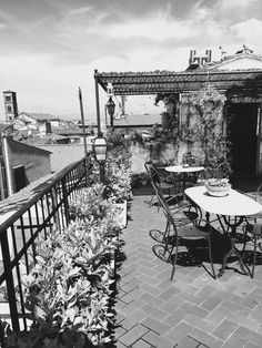 black and white roof garden