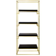 Worlds Away Gold Leaf Etagere with Lacquer Shelves