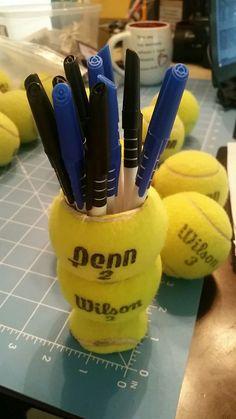 Cool tennis ball pen holder! More diy #tennis ideas at #lorisgolfshoppe