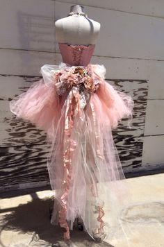 Pink Victorian tutu train and corset by ElenaCollectionUSA