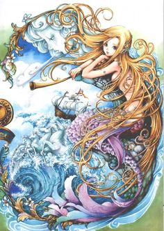 I love all fantasy and mythical stuff, but my favorite ones are mermaids.So this is a collection of mermaid images I've been picking all over the internet. Manga Art, Manga Anime, Anime Art, Magical Creatures, Sea Creatures, Anime Mermaid, Mermaid Fairy, Water Nymphs, Mermaid Tale
