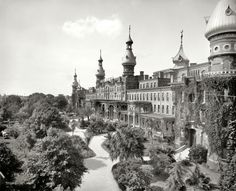"""Tampa Bay Hotel, Florida, 1902."" 8x10 inch dry plate glass negative by William Henry Jackson, Detroit Publishing Company."