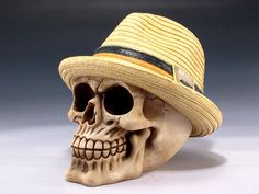1838303a530 Skull with panama hat skeleton figurine statue halloween