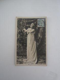 Art Nouveau postcard antique photograph French woman sepia