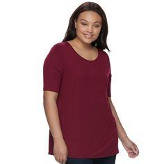 Juniors' Plus Size SO® Elbow Sleeve Tunic Tee, Teens, Size: 1XL, Dark Pink
