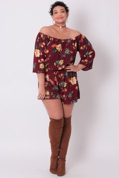 Plus Size Floral Sleeve Romper - Burgundy Trendy Plus Size Clothing, Plus Size Fashion For Women, Plus Size Women, Plus Size Outfits, Curvy Girl Fashion, Womens Fashion, Affordable Fashion, Look, Floral Tops