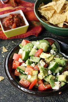 Avocado, Tomato & Cotija Cheese Salad for Cinco de Mayo | cookincanuck.com #vegetarian #cincodemayo