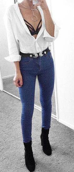 cute casual outfit: shirt + skinnies + boots