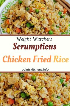 Scrumptious Chicken Fried Rice // Weight_Watchers // Recipes // WeightWatchers // Food // Healthyfood // SmartPoints // Smart_Points // Skinny // Family // Health // Recipes-for-dinner // Recipes-easy // Weight_Watchers-meals 256564510009107461 Plats Weight Watchers, Weight Watcher Dinners, Weight Watchers Chicken, Weight Watchers Food, Weight Watchers Smart Ones, Weigh Watchers, Pasta Carbonara, Rice Recipes, Healthy Dinner Recipes