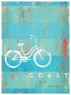 COAST w/ Bicycle Artwork: Beach Decor, Coastal Decor, Nautical Decor, Tropical Decor, Luxury Beach Cottage Decor Beach Cottage Decor, Coastal Cottage, Coastal Living, Tropical Decor, Tropical Interior, Tropical Furniture, Tropical Colors, Aqua, Bicycle Art