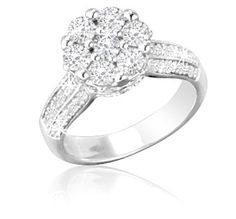 $229.99 1.25 Carat Flower Diamond Ring in Sterling Silver!