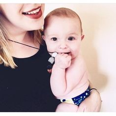 Nothing but happiness when I see all of the amazing photos our lovely customers post and tag us in on! Just like this beauty from @thatliz perfectly showing off her new Aurora Onyx teething necklace. Thanks lovely mama!