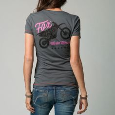 Fox Racing Fox Girl Shout Out Crew Neck Tee Shirt Graphite #FoxRacing #GraphicTee