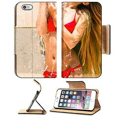 MSD Premium Apple iPhone 6 Plus iPhone 6S Plus Flip Pu Leather Wallet Case iPhone6 Plus IMAGE ID 35328932 Woman in tropical garden having shower outdoors Close up *** Details can be found by clicking on the image.