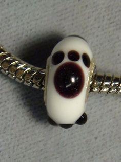 European glass bead white and black cat paw dog paw big hole bead  1107 #handmade