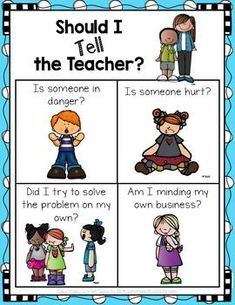 'Should I Tell the Teacher' Poster FREE 'Should I Tell the Teacher' Poster by Easy Peasy Lemon Squeezy First Grade Classroom, Classroom Rules, New Classroom, Classroom Community, Classroom Organization, Classroom Ideas, Classroom Libraries, Kindergarten Behavior, Classroom Behavior Management